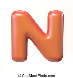 Bubbly 3d font letter N illustration