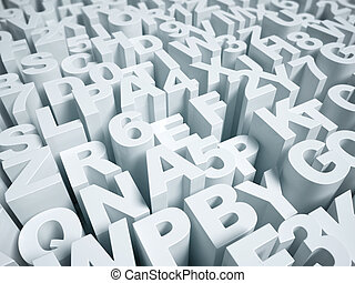 letters and numbers 3d background