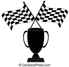 two crossed checkered flags with trophy