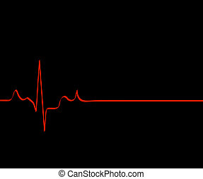 red flat lining heart rhythm on black background - death