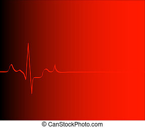 heart rhythm on gradient red background - vector