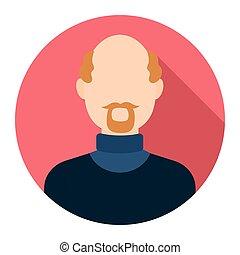 Gray beard icon cartoon Single avatar,peaople icon from the...