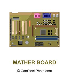 Motherboard icon cartoon. Single PC icon from the big...
