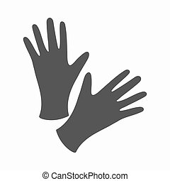 Black protective rubber gloves icon cartoon. Single tattoo...