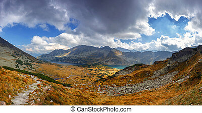 Panoramic vie of 5 lakes valley in High Tatra Mountains,...