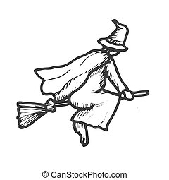 Hand drawn doodle Halloween witch. Black and white pen objects . Design illustration for poster, flyer .