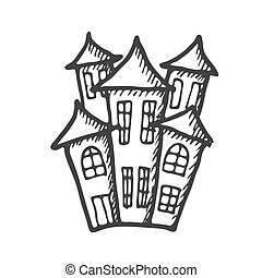 Hand drawn doodle Halloween castle. Black and white pen objects . Design illustration for poster, flyer .