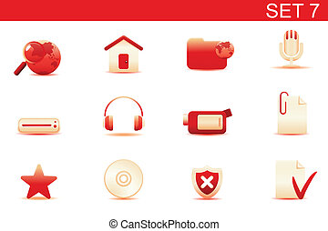 icon set - Vector illustration %u2013 set of red elegant...