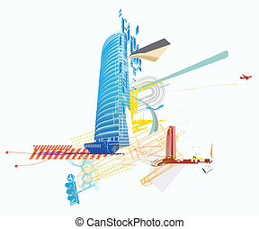 Urban background - Vector illustration of style urban...