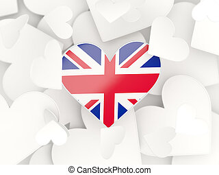 Flag of united kingdom, heart shaped stickers background 3D...