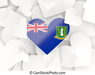 Flag of virgin islands british, heart shaped stickers...