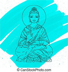 Sitting Buddha over watercolor background. Vector illustration. Vintage decorative composition. Indian, Buddhism, Spiritual motifs. Tattoo, yoga, spirituality.