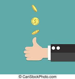 businessman hand throwing up a coin to make decision. vector...