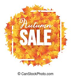 Autumn Sale poster with yellow leaves. Fall sale discount poster template