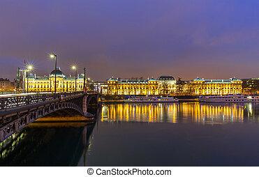 Lyon University bridge France - Lyon University bridge along...
