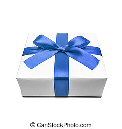 Gift box with blue ribbon bow