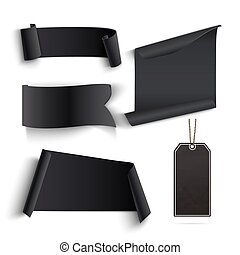 Set of blank black banners and price tags. Perfect for Black...
