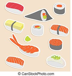 sushi set - Vector illustration of sushi set make in sticker...