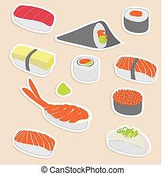 sushi set - Vector illustration of sushi set make in sticker...