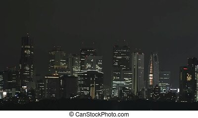 Time lapse Tokyo skyline at night 29,97 fps