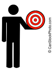 stick man or figure holding target in hand