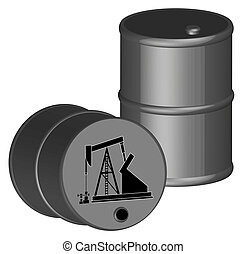 two oil barrels with oil pump illustration - two oil barrels...