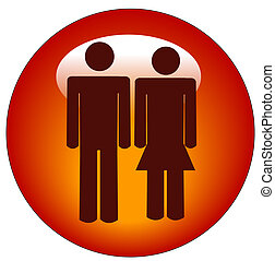 stick figure man and woman icon - red stick figure man and...