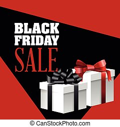 Black Friday sale design - Gift with bowtie icon. Black...