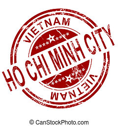 Red Ho Chi Minh City stamp with white background, 3D...