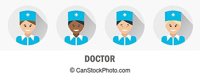 Doctors of different nationalities. Doctor flat icon