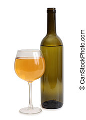 Wine glass on white background - Broken glass and spilled...