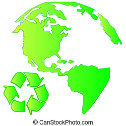 land mass with recycle symbol