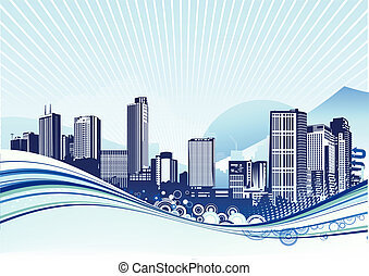 Urban background - Vector illustration of Big City. Blue...