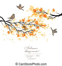Autumn branch and birds