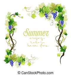 Blue vineyard frame - Natural blue vineyard frame with place...