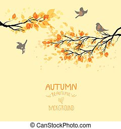 Branches with autumn leaves and birds