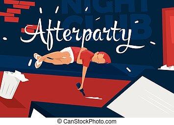 Boy lies near night club, feeling tired,sleepy. Afterparty....