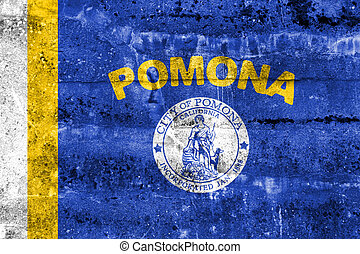 Flag of Pomona, California, USA, painted on dirty wall