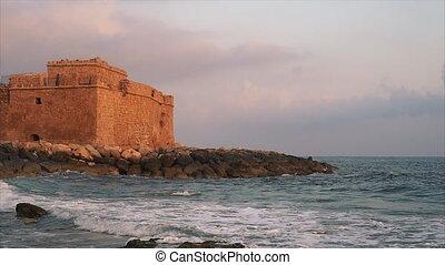The Pathos Castle on Mediterranean seashore in Cyprus...