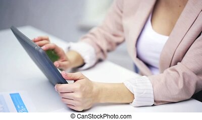 businesswoman hands with tablet pc - education, business and...