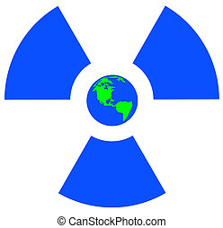 blue radio active symbol with earth
