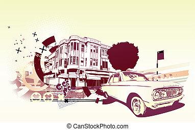 Urban background - Vector Illustration of old vintage custom...