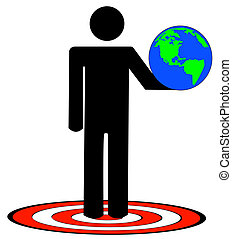 man holding up earth standing on target - stick man or...