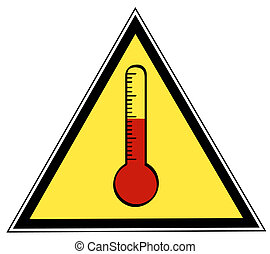 rising temperature sign - yellow and black triangle rising...