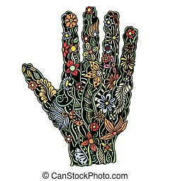 Floral palm, hand drawn - human hand of the beautiful...