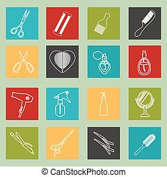 Barbershop objects haircutting too - haircutting tool icons...
