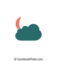 Moon Icon Vector Flat simple color pictogram