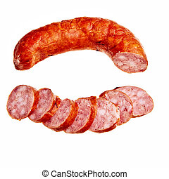 Tasty garlic sausage with few slices isolated over white...