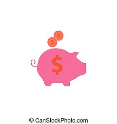 Moneybox Icon Vector. Flat simple color pictogram