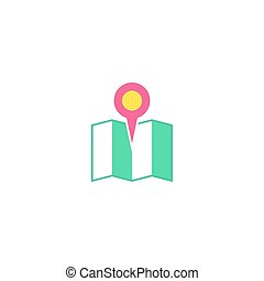 Map pin Icon Vector Flat simple color pictogram